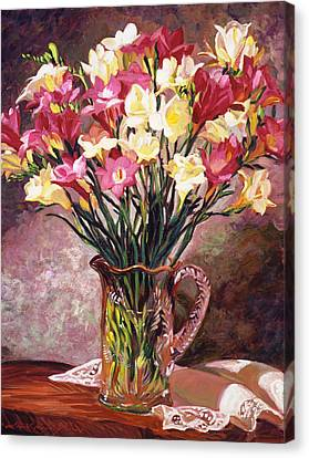 Freesias In Crystal Pitcher Canvas Print by David Lloyd Glover