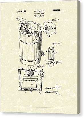 Freezer 1929 Patent Art Canvas Print by Prior Art Design