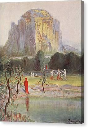 Freias Garden, 1906 Canvas Print by Hermann Hendrich