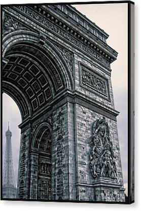 French - Arc De Triomphe And Eiffel Tower II Canvas Print by Lee Dos Santos