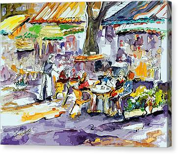 French Bistro Street Scene Canvas Print by Ginette Callaway