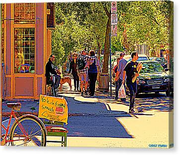 French Bread On Laurier Street Montreal Cafe Scene Sunny Corner With Vente De Garage Sign Canvas Print by Carole Spandau