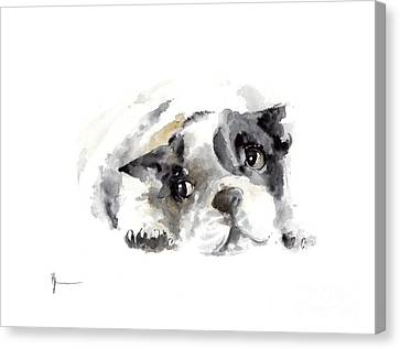 French Bulldog Original Painting Watercolor Art Print Canvas Print by Joanna Szmerdt