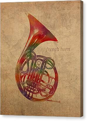 French Horn Brass Instrument Watercolor Portrait On Worn Canvas Canvas Print by Design Turnpike