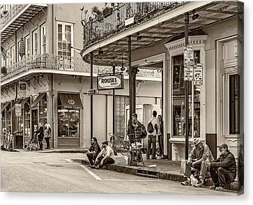French Quarter - Hangin' Out Sepia Canvas Print by Steve Harrington