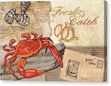 Fresh Catch Red Crab Canvas Print by Paul Brent