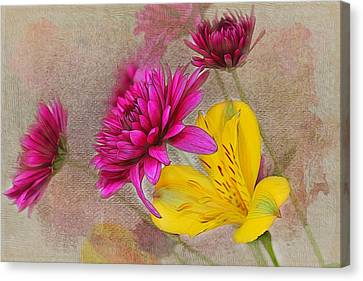Fresh Flowers Painted Canvas Print by Judy Vincent