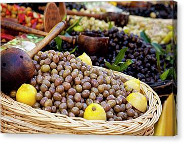 Fresh Olives For Sale At The Local Canvas Print by Brian Jannsen