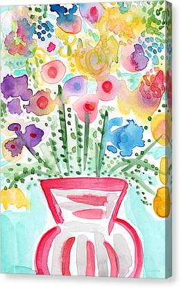 Fresh Picked Flowers- Contemporary Watercolor Painting Canvas Print by Linda Woods