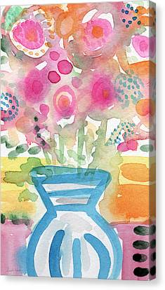 Fresh Picked Flowers In A Blue Vase- Contemporary Watercolor Painting Canvas Print by Linda Woods