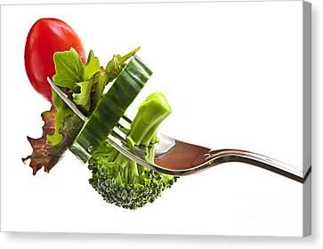 Fresh Vegetables On A Fork Canvas Print by Elena Elisseeva