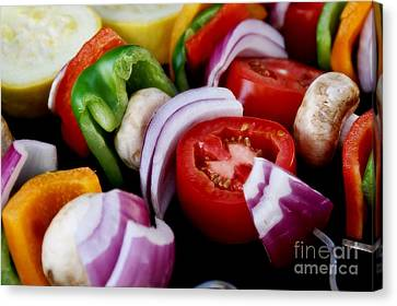 Fresh Veggie Kabobs On The Grill Canvas Print by Peggy Hughes