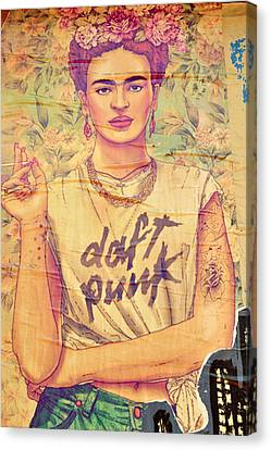 Frida Daft Punk Canvas Print by Gizem Guvenc
