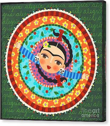 Frida Kahlo Dancing Canvas Print by LuLu Mypinkturtle