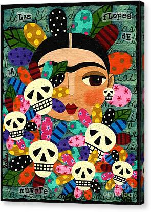 Frida Kahlo Day Of The Dead Flowers Canvas Print by LuLu Mypinkturtle
