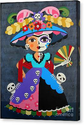 Frida Kahlo La Catrina Canvas Print by LuLu Mypinkturtle
