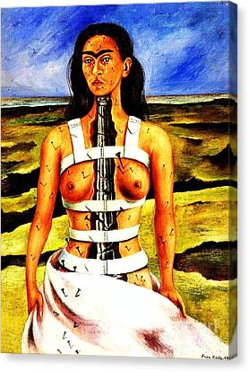 Frida Kahlo The Broken Column Canvas Print by Pg Reproductions