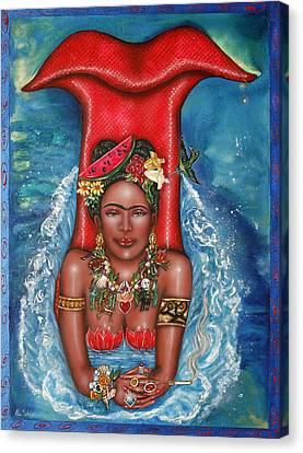 Frida Makes A Splash Canvas Print by Ilene Satala