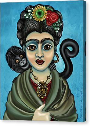 Frida's Monkey Canvas Print by Victoria De Almeida