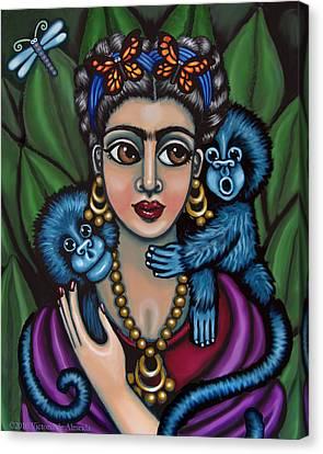 Frida's Monkeys Canvas Print by Victoria De Almeida