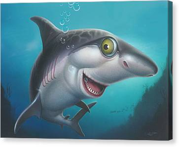 friendly Shark Cartoony cartoon under sea ocean underwater scene art print blue grey  Canvas Print by Walt Curlee