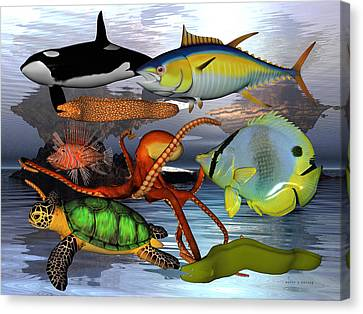 Friends Of The Sea Canvas Print by Betsy Knapp