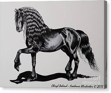 Friesian Mare Canvas Print by Cheryl Poland