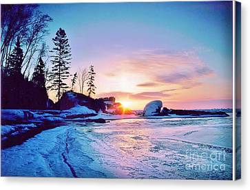 Temperence River Mouth Sunrise - Winter Canvas Print by Rory Cubel