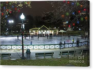 Frog Pond Ice Skating Rink In Boston Commons Canvas Print by Juli Scalzi