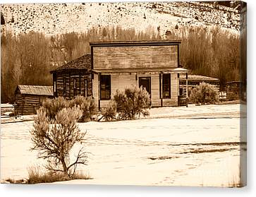 From Saloon To Store Front And Home In Sepia Canvas Print by Sue Smith