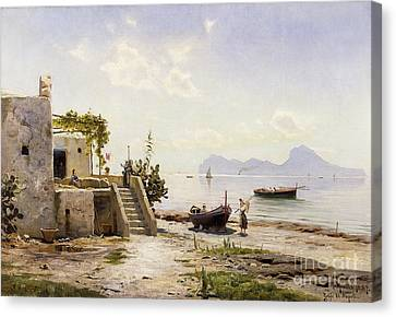 From Sorrento Towards Capri Canvas Print by Peder Monsted