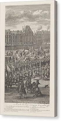 Front Of The Procession Of King Louis Xiv Of France Canvas Print by Jan Van Huchtenburg And Adam Frans Van Der Meulen