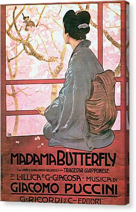 Frontispiece Of The Score Sheet For Madame Butterfly By Giacomo Puccini 1858-1924 Colour Litho See Canvas Print by Italian School