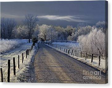 Frosty Cades Cove Hdr Canvas Print by Douglas Stucky
