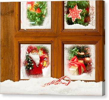 Frosty Christmas Window Canvas Print by Amanda Elwell
