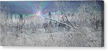 Frosty Window Distant Sun Canvas Print by Hanne Lore Koehler
