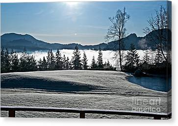 Frosty Winter Morning With Pond Art Prints Canvas Print by Valerie Garner