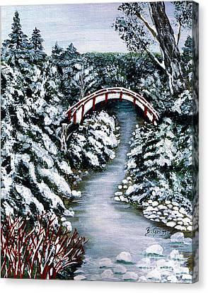 Frozen Brook - Winter - Bridge Canvas Print by Barbara Griffin