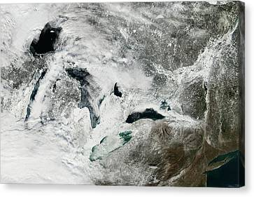 Frozen Great Lakes Canvas Print by Nasa Earth Observatory