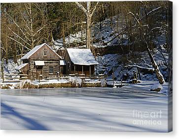 Frozen Pond  Canvas Print by Paul Ward