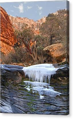 Frozen Waterfall Canvas Print by Alan Socolik