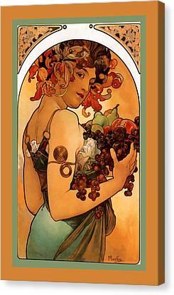 Fruit Canvas Print by Alphonse Maria Mucha