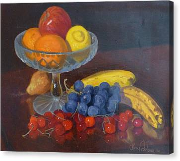 Fruit And Glass Canvas Print by Terry Perham