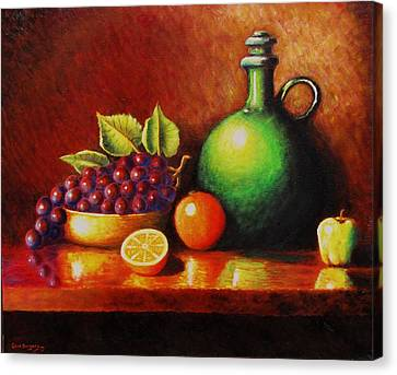 Fruit And Jug Canvas Print by Gene Gregory