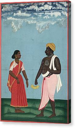 Fruit-seller And Wife Canvas Print by British Library