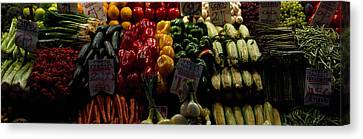 Fruits And Vegetables At A Market Canvas Print by Panoramic Images