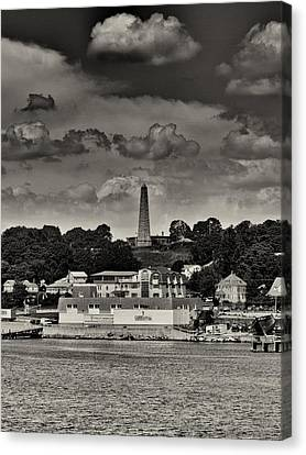 Ft Griswald Monument Black And White Canvas Print by Joshua House