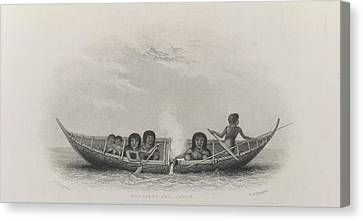 Fuegians And Canoe Canvas Print by British Library