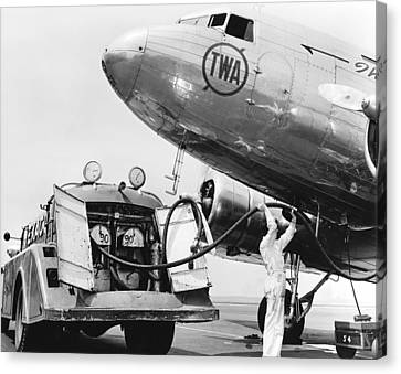 Fueling A Dc-3 Airliner Canvas Print by Underwood Archives
