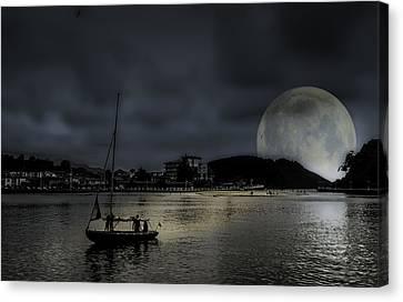 Full Moon Harbor Canvas Print by Mountain Dreams